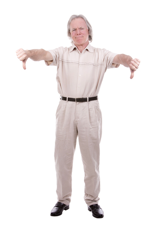 looser: senior caucasian causual posing on white isolated background