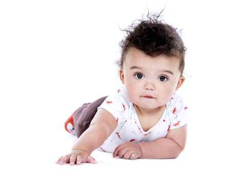 blanked: adorable baby boy wrapped with blanked on white background