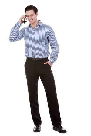 black pants: young caucasian man wearing blue shirt and black pants on white background