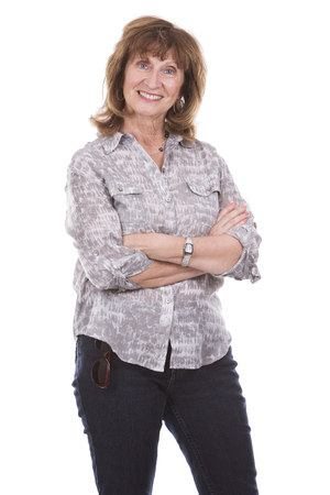 beautiful middle aged woman: older caucasian woman wearing casual outfit on white isolated background