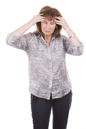 hurting: hurting older caucasian woman wearing casual outfit on white isolated background
