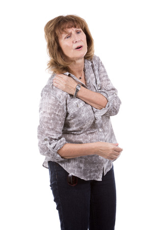 stress woman: hurting older caucasian woman wearing casual outfit on white isolated background