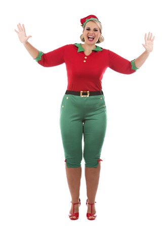 beautiful background: blonde woman wearing elf christmas costume on white background