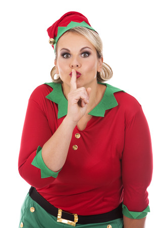 christmas costume: blonde woman wearing elf christmas costume on white background