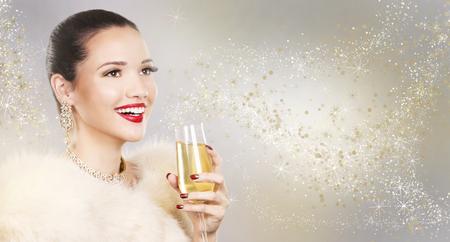 Upscale woman wearing gold jewellery and red lipstick on light background Reklamní fotografie