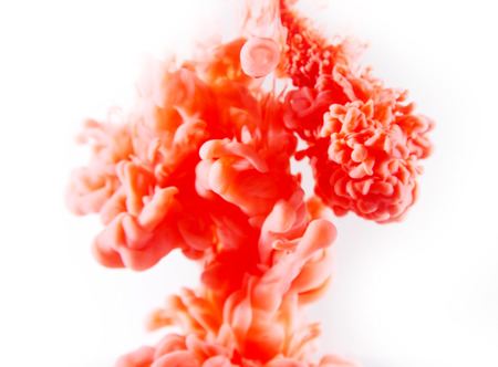 orange red abstract art ink on white isolated background