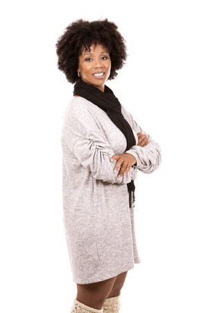 beautiful casual black woman wearing light top and black scarft on white isolated background