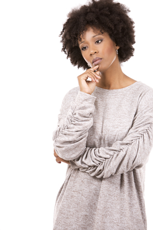 sadl casual black woman wearing light top on white isolated background