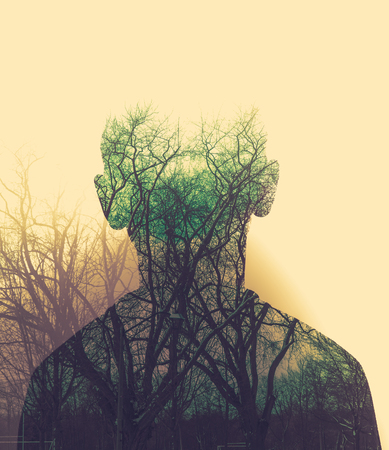 green double exposure of nature and male back Zdjęcie Seryjne