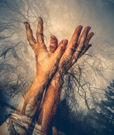 green double exposure of nature and females hands