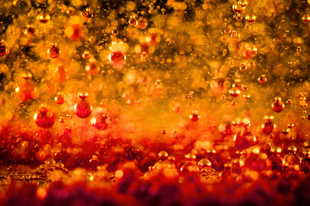 Colorful bubbly liquid in with unique shapes and pattern. Artistic abstract design. - image