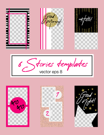 6 editable  stories template. Pink and golden glitter appearence. Fashion trendy templates for social media stories Foto de archivo - 125385052