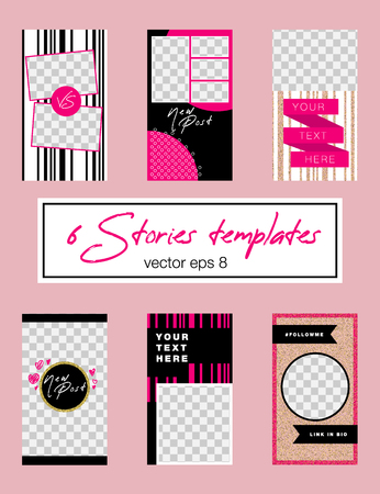 6 editable stories template. Pink and golden glitter appearence. Fashion trendy templates for social media stories