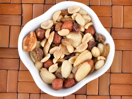 mixed nuts: Mixed nuts in a white bowl