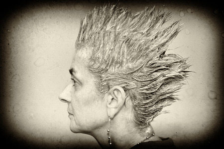 spiky: Portrait of a woman with shampooed spiky hair