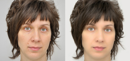 looking after: A set of two portraits of the same woman, one before and the other after applying make-up and computer retouching