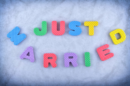 just: Just married  sign made out of alphabet