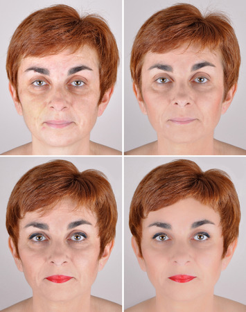 A set of  four portraits of the same woman, one before and the others after step by step applying make-up and computer retouching Stock Photo
