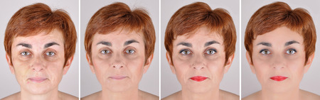 looking after: A set of  four portraits of the same woman, one before and the others after step by step applying make-up and computer retouching Stock Photo