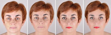 pessoas: Um conjunto de quatro retratos da mesma mulher, uma antes e outros depois passo a passo de aplicar a maquiagem e retoque de computador