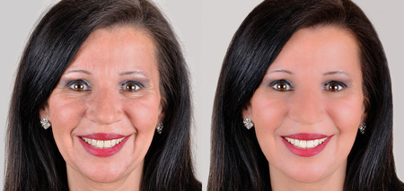 A set of two portraits of the same woman one before and the other after applying makeup and computer retouching photo