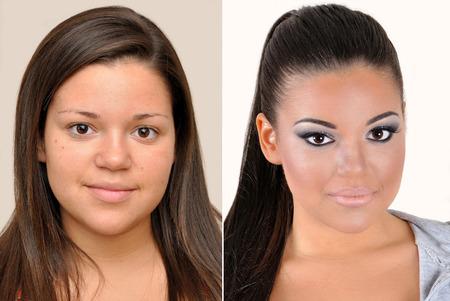 mujer maquillandose: Un conjunto de dos retratos de la misma niña de un adolescente antes y otro después de la aplicación de maquillaje