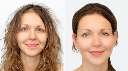 mujer maquillandose: Un conjunto de dos retratos de la misma mujer hermosa, uno antes y otro después de aplicar el maquillaje y peluquería