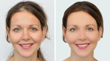 Een set van twee portretten van dezelfde mooie vrouw, een voor en de andere na het aanbrengen van make-up, hairstyling en het bleken van tanden