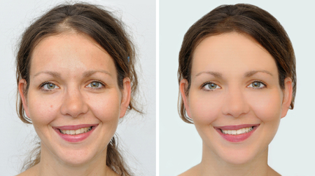 A set of two portraits of the same beautiful woman, one before and the other after applying make-up, hairstyling and teeth whitening