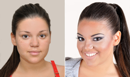 hairstyling: A set of two portraits of the same teenage girl, one before and the other after applying make-up, hairstyling and teeth whitening Stock Photo