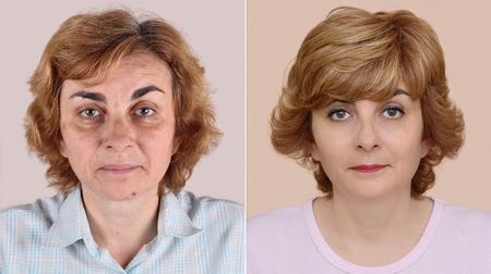 女性のメイクアップとヘアスタイ リングを適用する前後