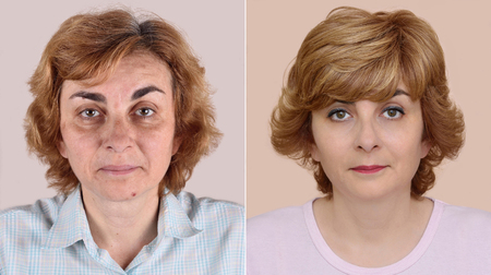 hairstyling: Woman before and after applying make-up and hairstyling