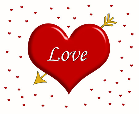 Word Love written on the big red heart with golden arrow and little red hearts around it Stock Photo