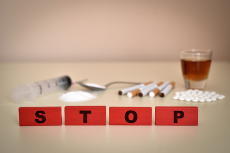 Stop drugs, alcohol and smoking addiction. Selective focus.