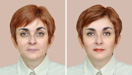 Woman before and after removing eye bags, applying make-up and hairstyling