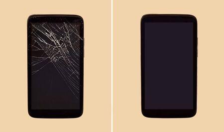 Smartphone before and after repairing broken display