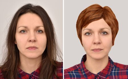 Two portraits of the same woman before and after wearing a wig