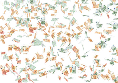 Rain of euro banknotes falling down on the white background. Currency, lottery and success concept. Stok Fotoğraf