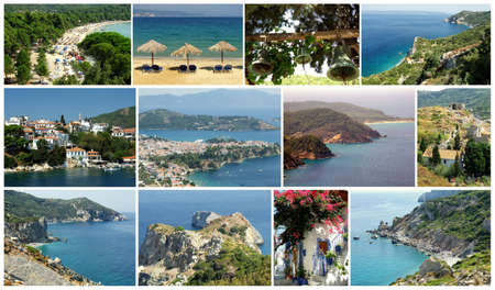 Beautiful island Skiathos: one of the most popular travel destinations in Greece. Collage.
