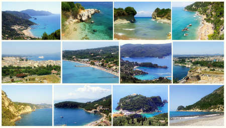 Beautiful island Corfu: one of the most popular travel destinations in Greece. Collage.