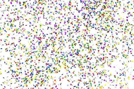 Multicolored confetti falling on the white background