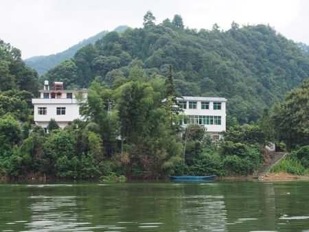 upstream: Nature scenery view with river and buildings Editorial
