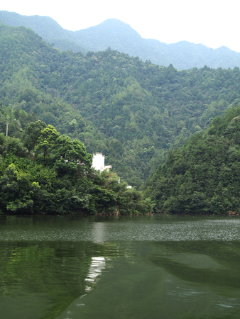 upstream: Nature scenery view with river and mountain