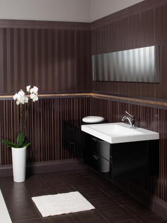 bollard: Modern bathroom sink and bollard, mirror, orchid in the vase