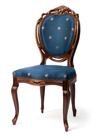 classicism: baroque chair with blue upholstery, isolated on white background Stock Photo