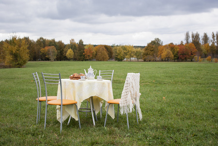 picnick: Setout tea table  surrounded by chairs on the field outdoors, autumn landscape