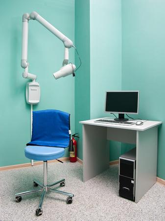 x ray machine: Interior of dentists cabinet with X- ray machine