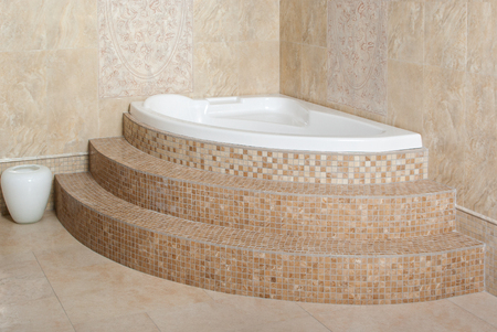 pastel shades: Modern bathroom in the corner, vase on the floor, pastel shades