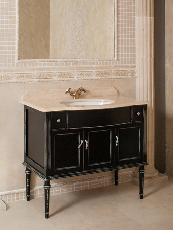 pastel shades: Classical  bathroom sink , mirror, decorated wall, pastel shades