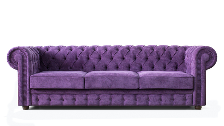 Huge expensive and luxurious sofa with purple upholstery. Front view. Image of furniture isolated on white background.